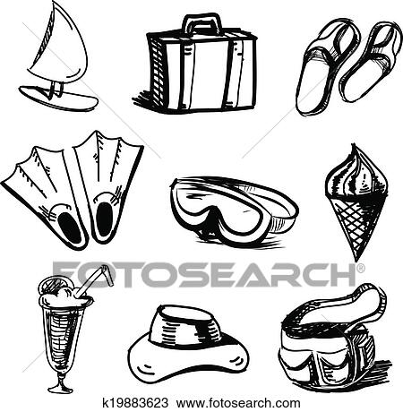 Clipart Of Summer Holidays Objects Collection K19883623