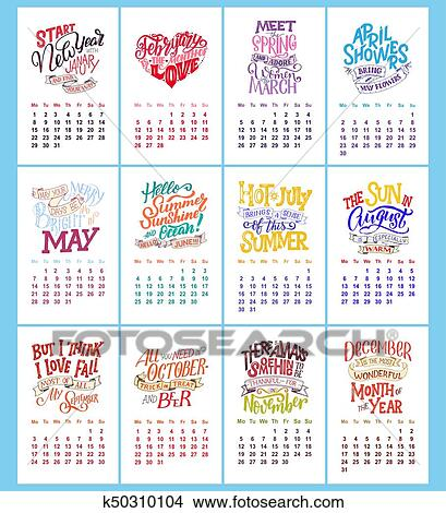 vector calendar for months hand drawn lettering quotes