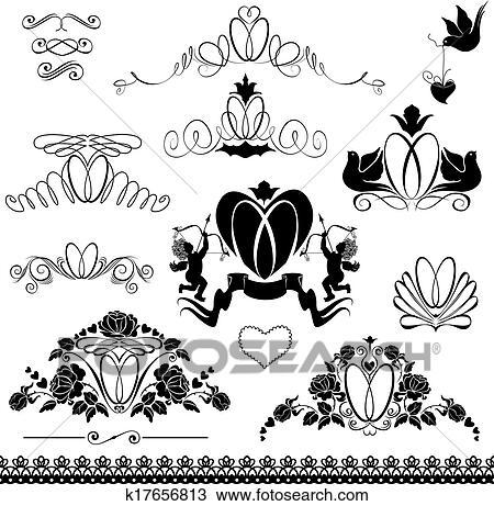 Clipart Zwei Eheringe Altmodisch Verzierungen Calligraphic