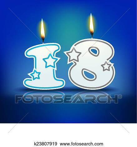 Clip Art Of Birthday Candle Number 18 K23807919