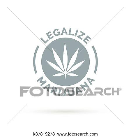 Clip Art Of Legalize Marijuana Icon With Cannabis Leaf Silhouette