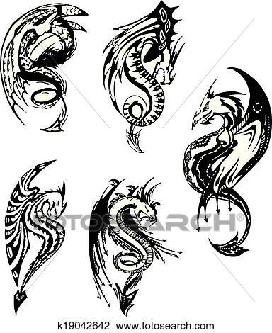 Clipart - satz, von, schwarz weiß, drachen k19042642 - Suche Clip ...