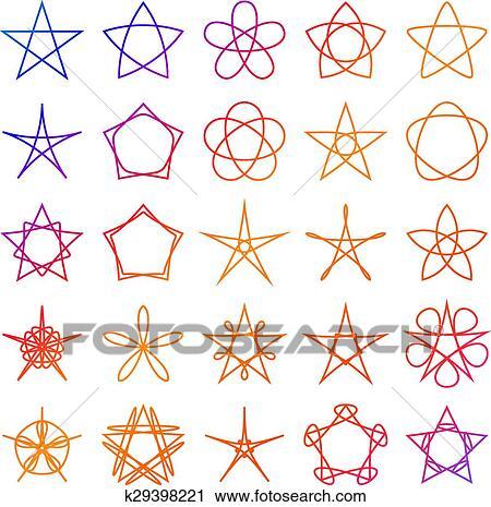 Set of stars  Geometric shapes  Vector Clipart