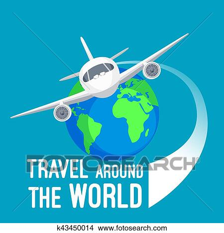 clipart of travel around world by fast means of transportation
