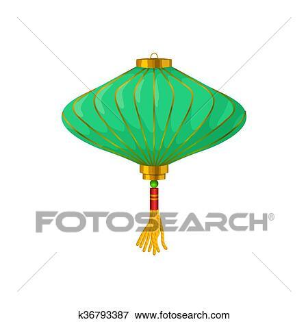 Banque D Illustrations Vert Lanterne Chinoise Papier Icone