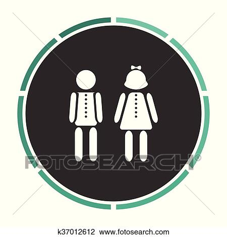 Clipart Of Brother And Sister Computer Symbol K37012612 Search