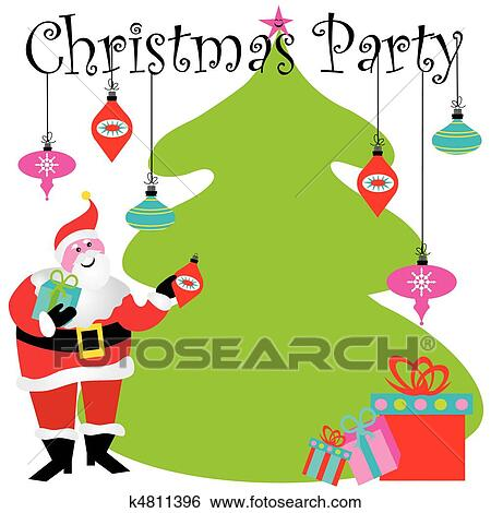 Clip Art Of Christmas Party Invitation K4811396 Search Clipart