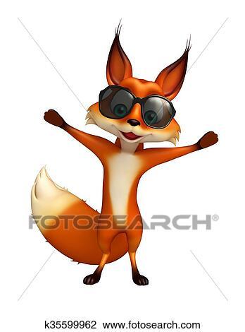 Simpatico cartone animato bella volpe rossa con cuore grande rosa