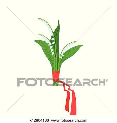 Muguet Bouquet Fleur Attache A Ruban Rouge Magasin Fleur