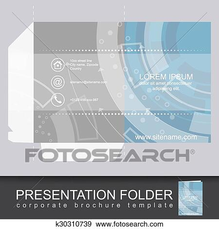 Clip art of presentation corporate folder template with die cut clip art presentation corporate folder template with die cut design fotosearch search clipart wajeb Choice Image