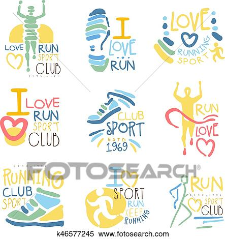 running supporters and run fans club for people that love sport set of colorful promo sign design templates bright color promotional vector labels with