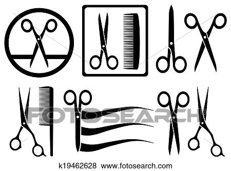 Black And White Comb And Open Scissors Silhouette. Hairdresser.. Royalty  Free Cliparts, Vectors, And Stock Illustration. Image 127065530.