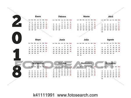Calendario In Spagnolo.Semplice Calendario Su 2018 Anno In Lingua Spagnola Clip Art