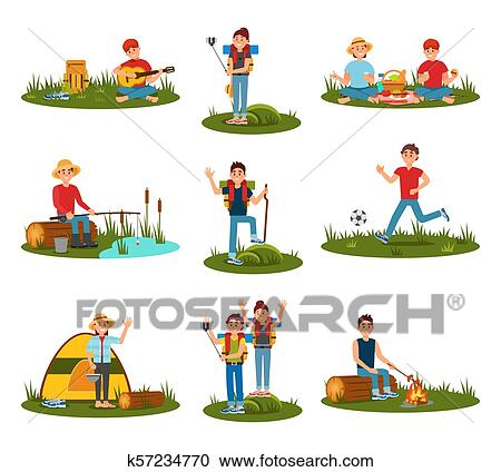 Summer Outdoor Activities Kid Playing Football Man Cooking Sausages On Fire Couple On Picnic People In Hike Guy Playing Guitar At Nature Flat