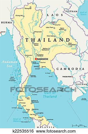 Thailand Political Map Clip Art K22535516 Fotosearch