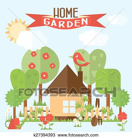 Clipart Vecteur Jardin Illustration Dans Plat Style Jardin