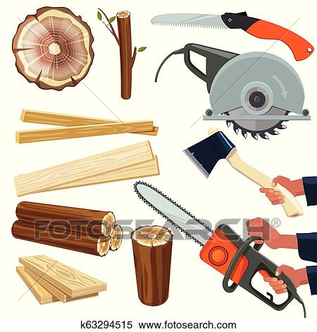 Wood Materials Wooden Production And Cut Woodworking Equipment Cutting Tools Forestry Pile Vector Isolated Pictures Clipart