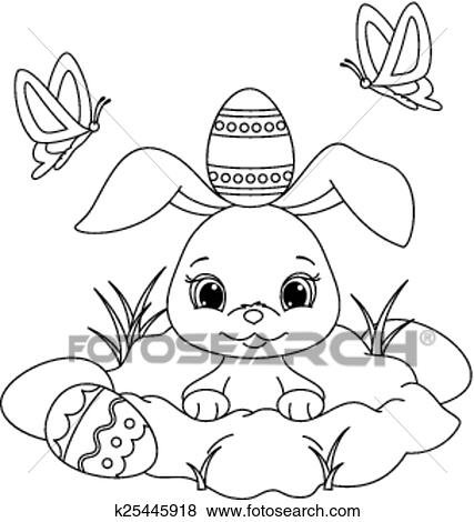 Easter bunny coloring page Clip Art