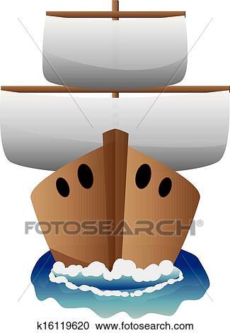Clipart Extracto Caricatura Barco K16119620 Buscar Clip Art