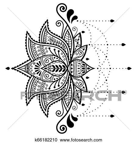 Flor Lotus Vetorial Desenho Indianas Ornamental Padrão Mehndi Tattoo Henna Decoração Ioga Cartão Cumprimento Clipart