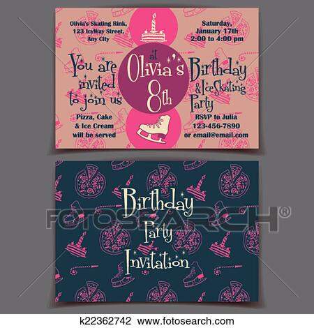 Ice Skating Birthday Party Invitation Cards Clipart