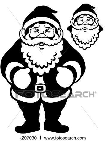 Santa Claus Black White Clipart K20703011 Fotosearch
