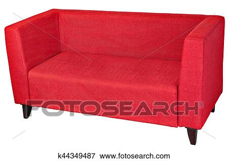 Upholstered 2 seater sofa in red fabric with wooden legs. Stock Photo