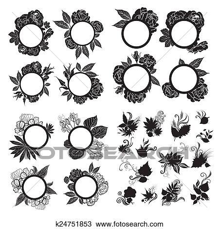 Dibujo - vendimia, marcos, con, flores k24751853 - Buscar Clip Art ...