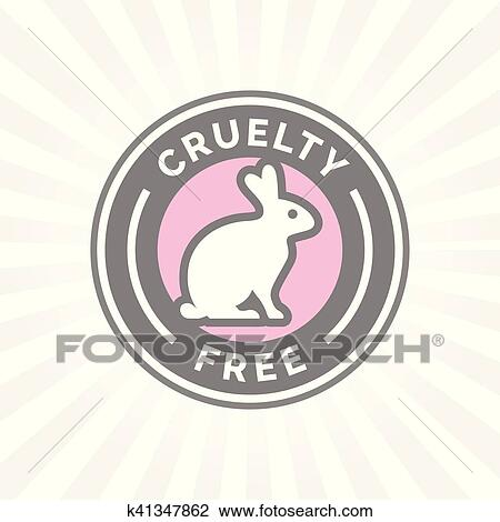 Clipart Of Animal Cruelty Free Icon Design With Rabbit Vector Badge