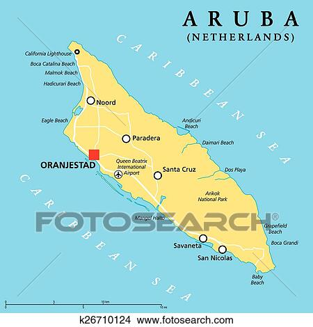 Aruba Political Map Clipart | k26710124 | Fotosearch