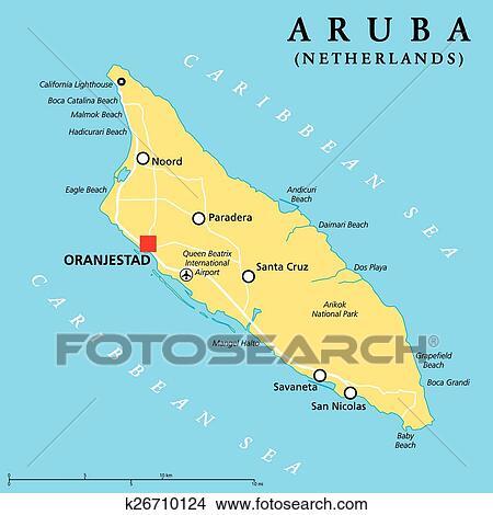 Aruba Politiek Kaart Clipart K26710124 Fotosearch