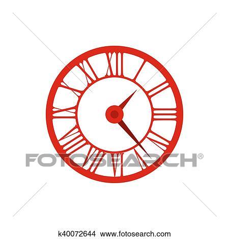 drawings of elegant roman numeral clock icon flat style k40072644
