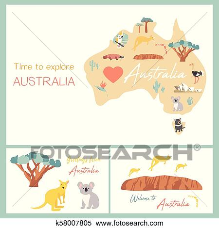 Map Of Australia With Landmarks.Map Of Australia With Landmarks And Wildlife Clipart