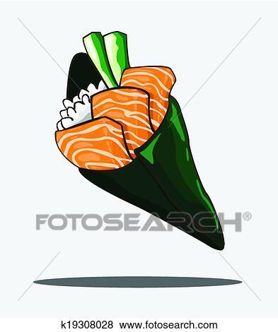 Clip Art , temaki, sushi, salmone