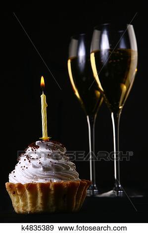 Two Elegant Glasses With Birthday Cake Stock Photo