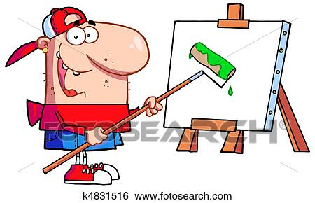clip art of young painter guy wearing a hat k4831516 search rh fotosearch com young clipart young cleopatra movie