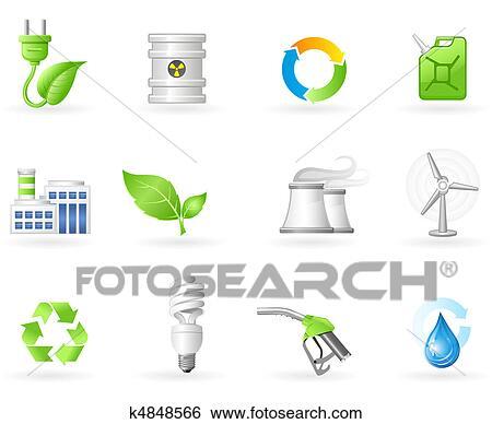 大気汚染 そして 緑 エネルギー アイコン イラスト K4848566
