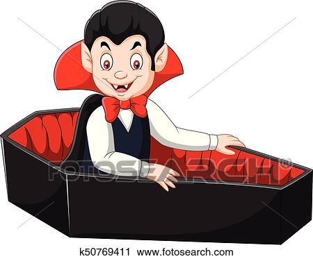 Cartone animato felice vampiro in suo bara clipart