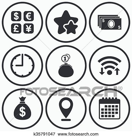 Clip Art Of Currency Exchange Icon Cash Money Bag Wallet