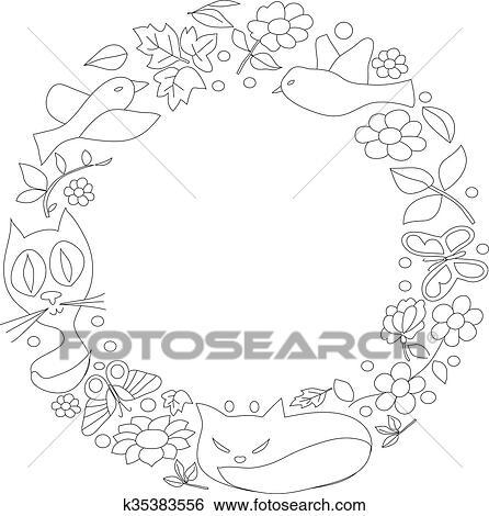 Colección De Ilustraciones Dibujo Gatos Mariposas Y Flores En