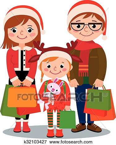 clip art of family with christmas shopping k32103427 search rh fotosearch com Christmas Shopping Background last minute christmas shopping clipart
