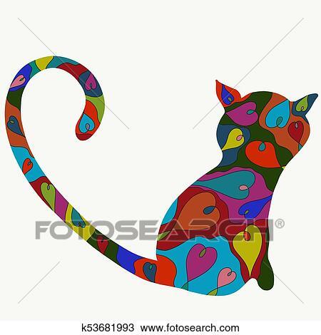 Gato Com Um Padrao De Coloridos Coracoes Desenho K53681993