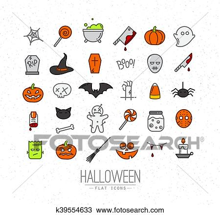 Halloween Flat Icons Color Clipart K39554633 Fotosearch