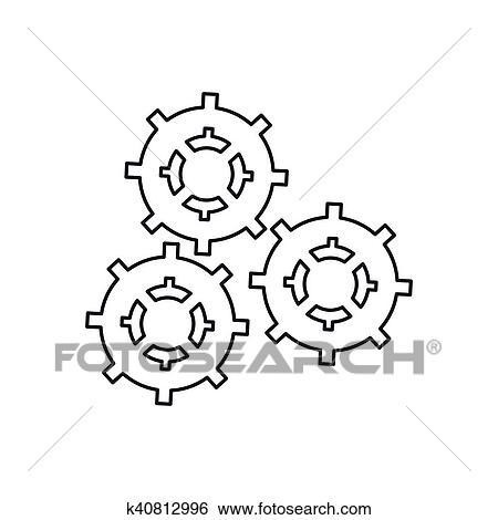 Isolado Engrenagens Parte Maquina Desenho Clipart K40812996