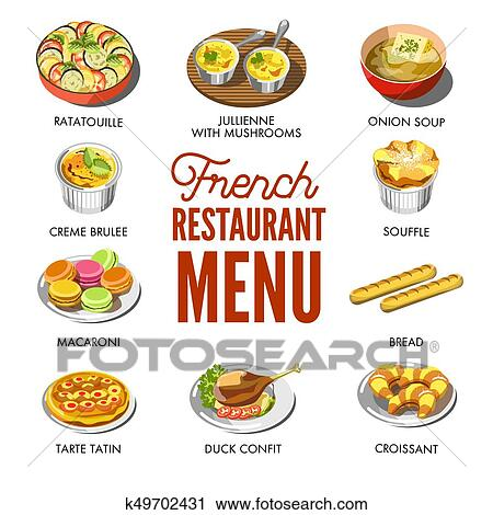 clipart francais menu restaurant traditionnel national savoureux nourriture k49702431. Black Bedroom Furniture Sets. Home Design Ideas