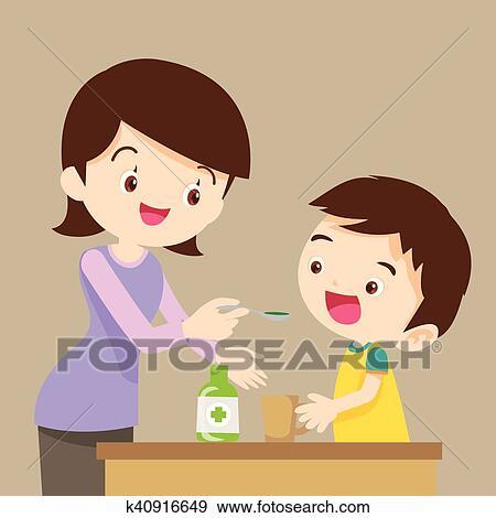 Clip Art Kindern Essen Medizinprodukt K40916649 Suche Clipart