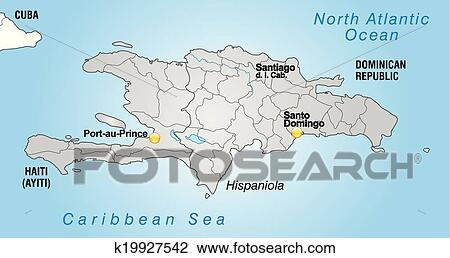 Clipart Of Map Of Hispaniola K19927542 Search Clip Art
