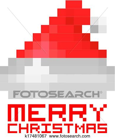 Pixel Père Noël Chapeau Rouge Clipart