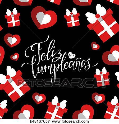 Clip Art Of Vector Feliz Cumpleanos Translated Happy Birthday