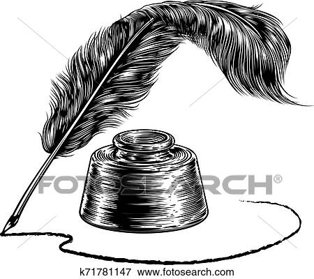 Writing Feather Quill Ink Pen and Inkwell Clip Art ...Quill Pen And Inkwell Clipart